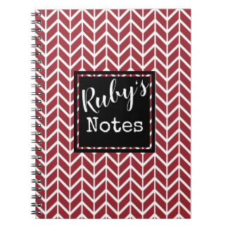 Ruby's Notes. Your Name. Custom Color Chervon Notebook