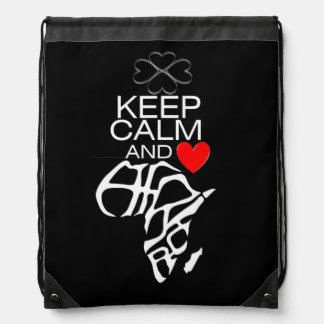 "Rucksack ""KEEP CALM & Heart AFRICA Drawstring Bag"