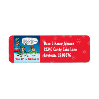 Rude Alf the Red Nosed Elf Custom Return Address Return Address Label