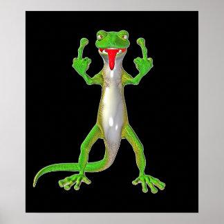Rude Gecko Lizard Poster