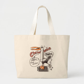 rude seagull cartoon style digital drawing large tote bag