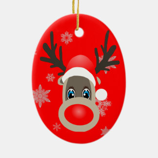 Rudolf - Christmas reindeer Ceramic Ornament