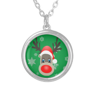 Rudolf - Christmas reindeer Silver Plated Necklace