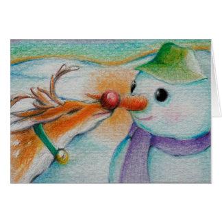 Rudolf meets the snowman card