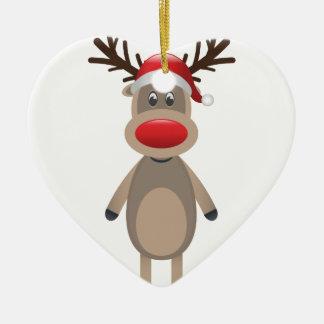 Rudolf the Reindeer Christmas Cute Design Ceramic Heart Ornament