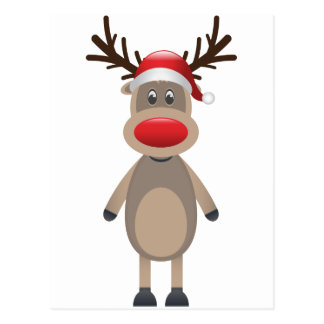 Rudolf the Reindeer Christmas Cute Design Postcard