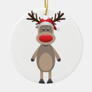 Rudolf the Reindeer Christmas Cute Design Round Ceramic Ornament
