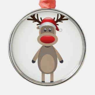 Rudolf the Reindeer Christmas Cute Design Silver-Colored Round Ornament