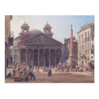 Rudolf von Alt- The Pantheon and the Piazza della Postcard