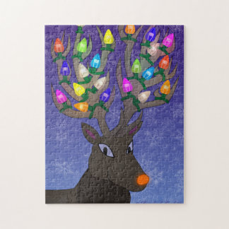 Rudolf with Christmas Lights Jigsaw Puzzle