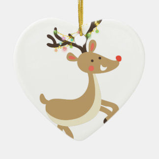 Rudolf with Christmas Lights, perfect Xmas Gift Ceramic Heart Ornament