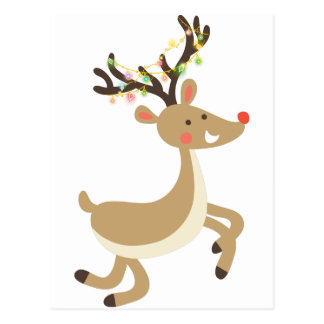 Rudolf with Christmas Lights, perfect Xmas Gift Postcard