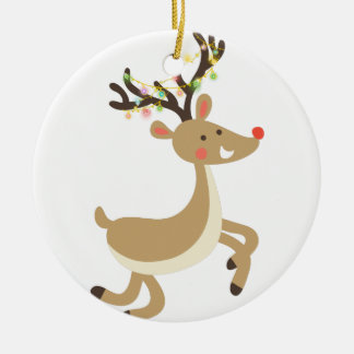 Rudolf with Christmas Lights, perfect Xmas Gift Round Ceramic Ornament