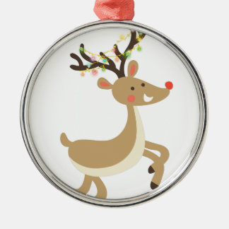 Rudolf with Christmas Lights, perfect Xmas Gift Silver-Colored Round Ornament