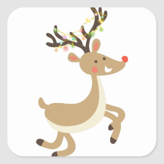 Rudolf with Christmas Lights, perfect Xmas Gift Square Sticker