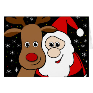 Rudolph and Santa selfie Card