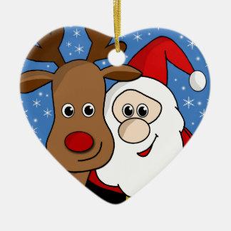Rudolph and Santa selfie Ceramic Heart Ornament