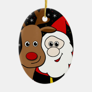 Rudolph and Santa selfie Ceramic Oval Ornament