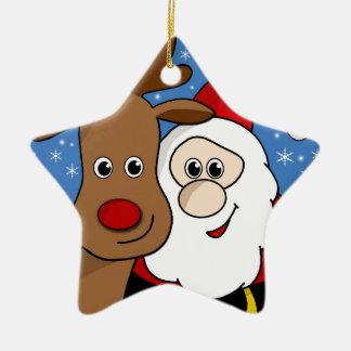 Rudolph and Santa selfie Ceramic Star Ornament
