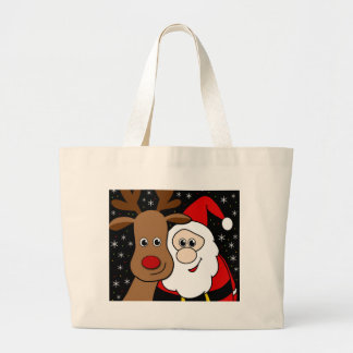 Rudolph and Santa selfie Large Tote Bag