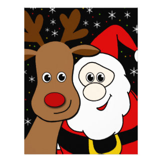 Rudolph and Santa selfie Letterhead Design