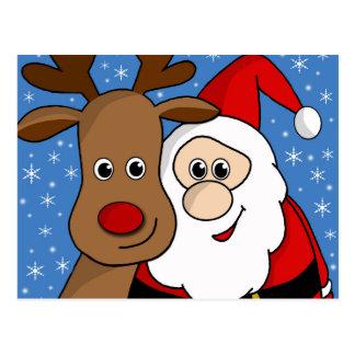 Rudolph and Santa selfie Postcard
