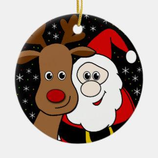 Rudolph and Santa selfie Round Ceramic Ornament