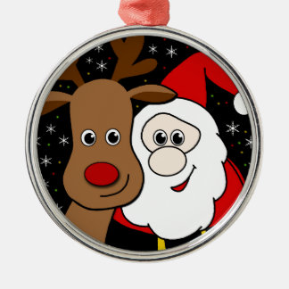 Rudolph and Santa selfie Silver-Colored Round Ornament