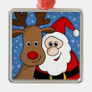 Rudolph and Santa selfie Silver-Colored Square Ornament