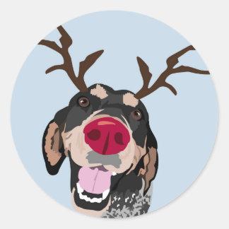Rudolph Bluetick Coonhound Classic Round Sticker