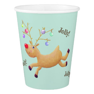 Rudolph Holiday paper cups