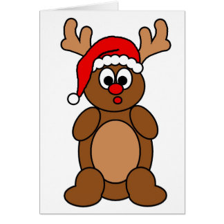 rudolph in a hat greeting card