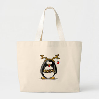 Rudolph penguin tote bags