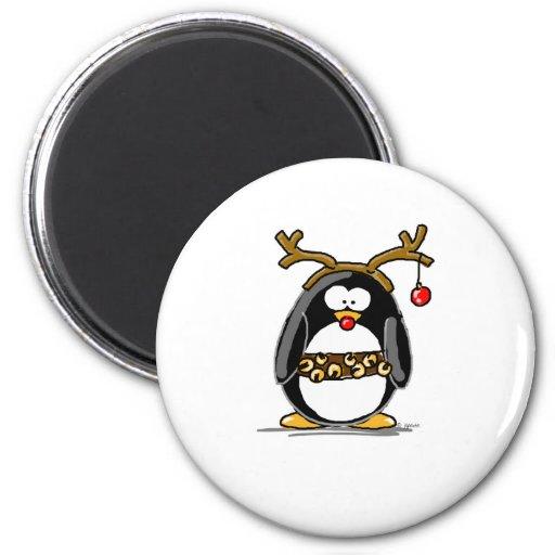 Rudolph penguin fridge magnet