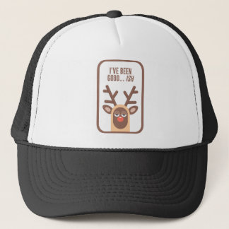 Rudolph Red Nose Reindeer Naughty Nice Good Bad Li Trucker Hat