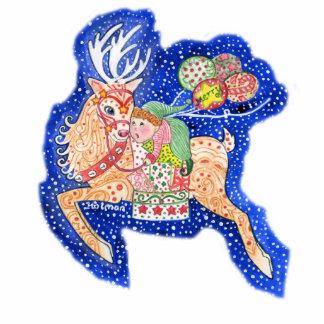Rudolph & Santa's Helper Ornament Photo Cutout