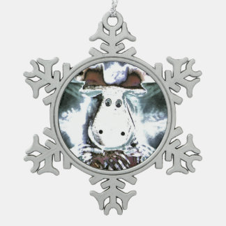 Rudolph Snowflake Pewter Christmas Ornament