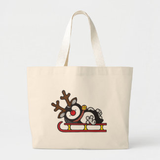 Rudolph_the_red_nose_penguin_on_a_sled Large Tote Bag