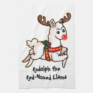 Rudolph the Red-Nosed Llama Kitchen Towel