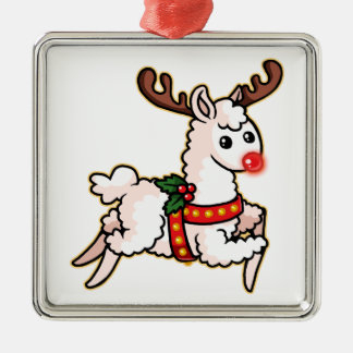 Rudolph the Red-Nosed Llama Metal Ornament