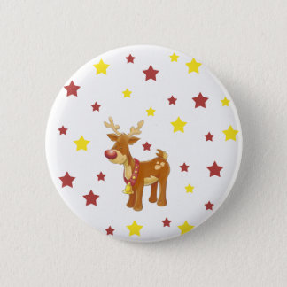 Rudolph the red nosed reindeer Christmas stars 2 Inch Round Button