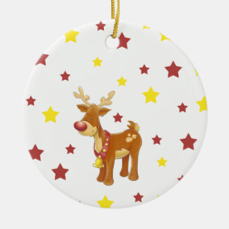 Rudolph the red nosed reindeer Christmas stars Ceramic Ornament