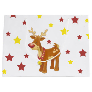 Rudolph the red nosed reindeer Christmas stars Large Gift Bag