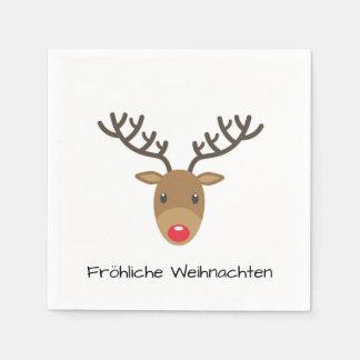 Rudolph The Reindeer Fröhliche Weihnachten Paper Napkin