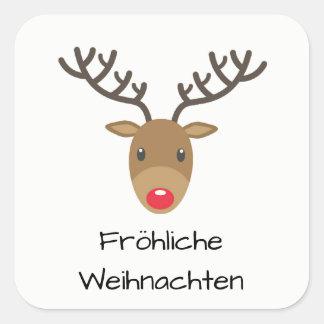Rudolph The Reindeer Fröhliche Weihnachten Square Sticker