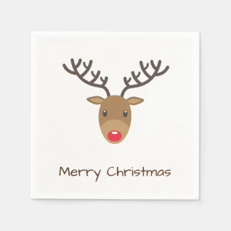 Rudolph The Reindeer Merry Christmas Paper Napkin