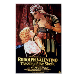 """Rudolph Valentino in """"The Son of the Sheik"""" Poster"""