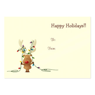 Rudolph with lights Christmas gift tag Business Card