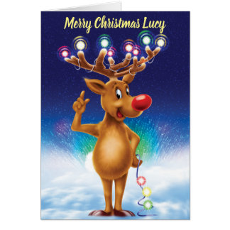 Rudolph with Northern lights custom Christmas card