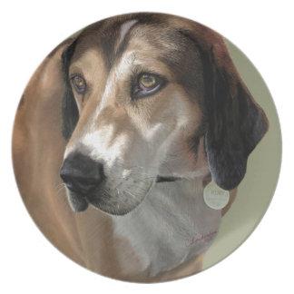 Rudy Catahula Walker hound hand painted digital Dinner Plates